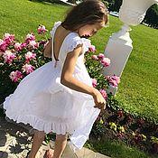 Работы для детей, ручной работы. Ярмарка Мастеров - ручная работа Летнее  белое платье. Handmade.