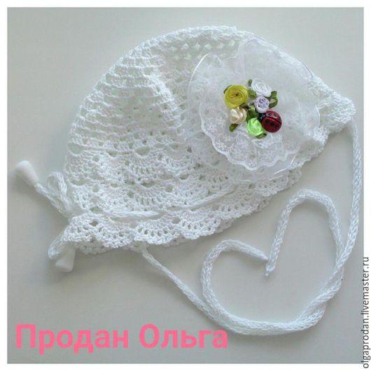 Одежда для девочек, ручной работы. Ярмарка Мастеров - ручная работа. Купить Ажурная шапочка для девочки крючком. Handmade. Белый