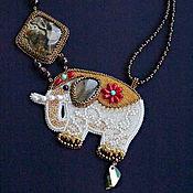"""Украшения ручной работы. Ярмарка Мастеров - ручная работа Колье со слоном подарок""""Странствующий слон"""". Handmade."""