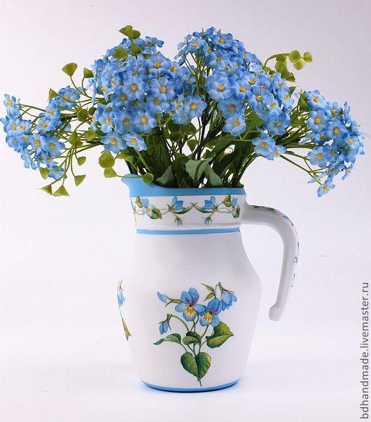 """Вазы ручной работы. Ярмарка Мастеров - ручная работа. Купить Ваза """"Небесные Виолы"""". Handmade. Голубой, ваза стеклянная"""