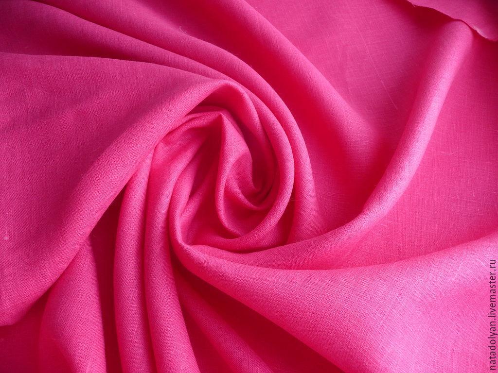 Flax 100% 'Fuchsia' (hot pink), Fabric, Ivanovo,  Фото №1