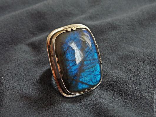Кольцо с шикарным лабрадором в серебре,выполненное в ручную `Таинство ночи`