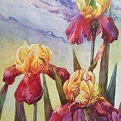 Картины и панно ручной работы. Ярмарка Мастеров - ручная работа Желто бордовые ирисы. Handmade.