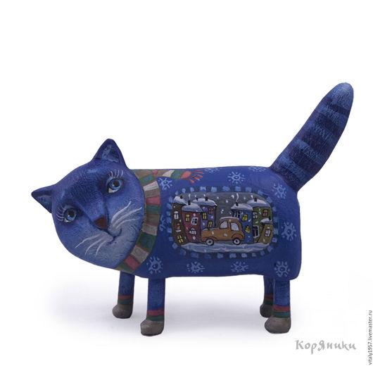 Игрушки животные, ручной работы. Ярмарка Мастеров - ручная работа. Купить Синий кот. Авторская игрушка. Дерево.. Handmade. Скульптура