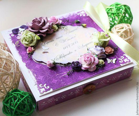 """Конверты для денег ручной работы. Ярмарка Мастеров - ручная работа. Купить Большая коробочка для денег """"Фиолетовый праздник"""". Handmade."""