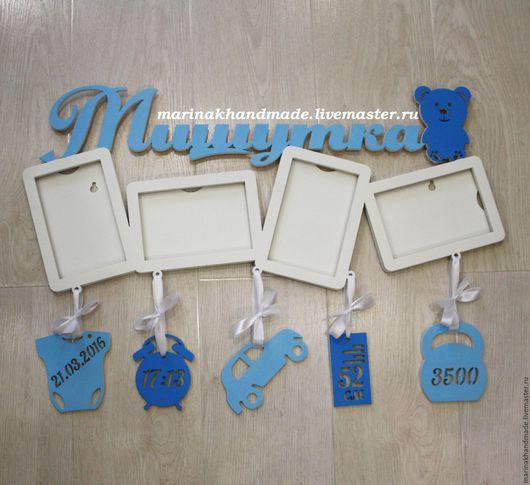 Детская ручной работы. Ярмарка Мастеров - ручная работа. Купить Метрика+4 фоторамки. Handmade. Синий, белый, Метрика для девочки