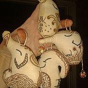 Для дома и интерьера ручной работы. Ярмарка Мастеров - ручная работа Слоники текстильные кофейные ручной росписи. Handmade.