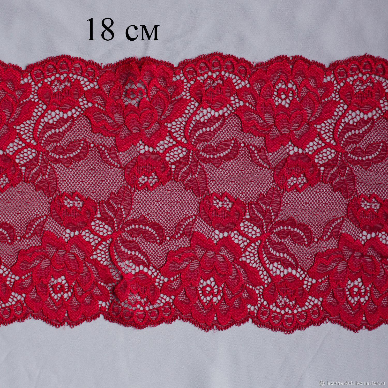Красное стрейчевое кружево 18 см, 1 м (001-023-616), Кружево, Москва,  Фото №1