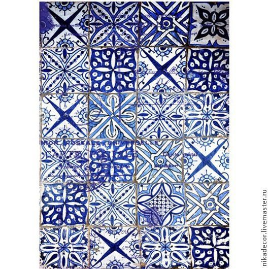Декупаж и роспись ручной работы. Ярмарка Мастеров - ручная работа. Купить Голубая плитка (CD01709) - рисовая бумага, А3. Handmade.