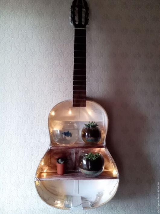 Освещение ручной работы. Ярмарка Мастеров - ручная работа. Купить Полочка-ночник из гитары. Handmade. Комбинированный, в подарок, необычный подарок