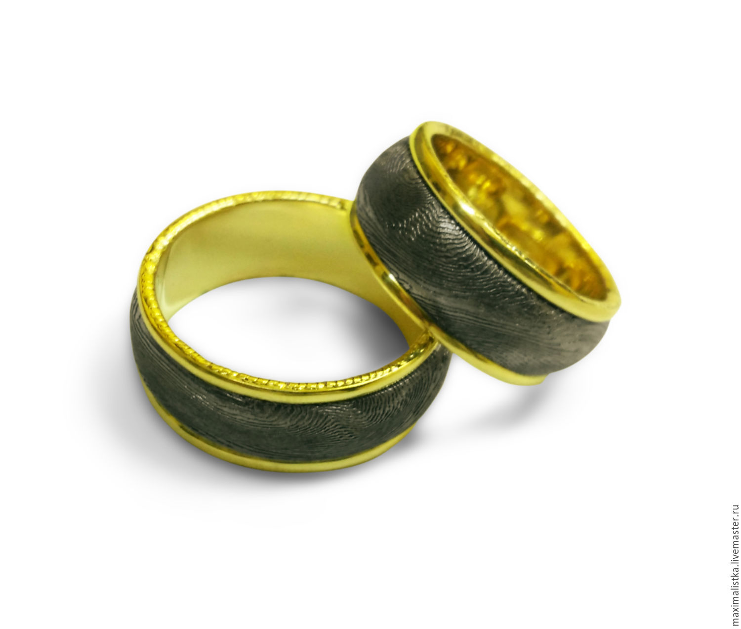 Order Engagement Rings Damascus Steel Gold 585