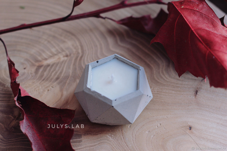 Соевая свеча в бетоне с ароматом лаванды, Свечи, Санкт-Петербург,  Фото №1