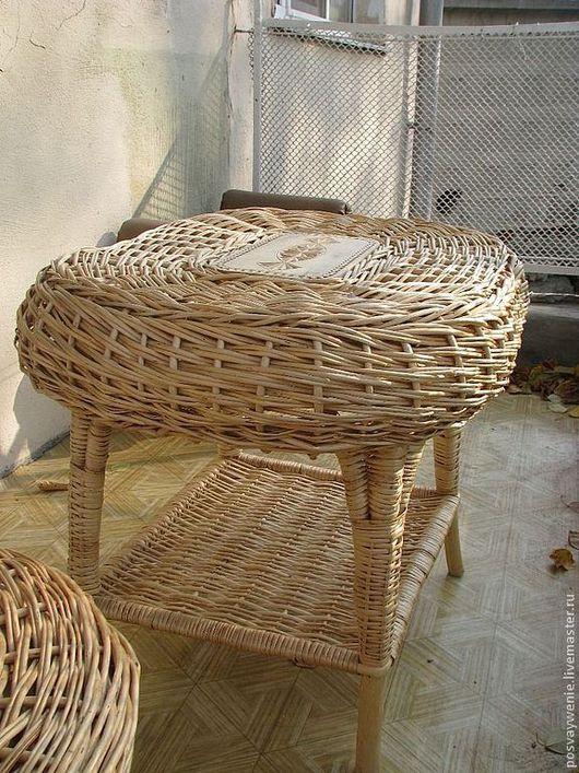 Мебель ручной работы. Ярмарка Мастеров - ручная работа. Купить плетеные стол и стул. Handmade. Бежевый, стол, КРЕСЛО-КАЧАЛКА