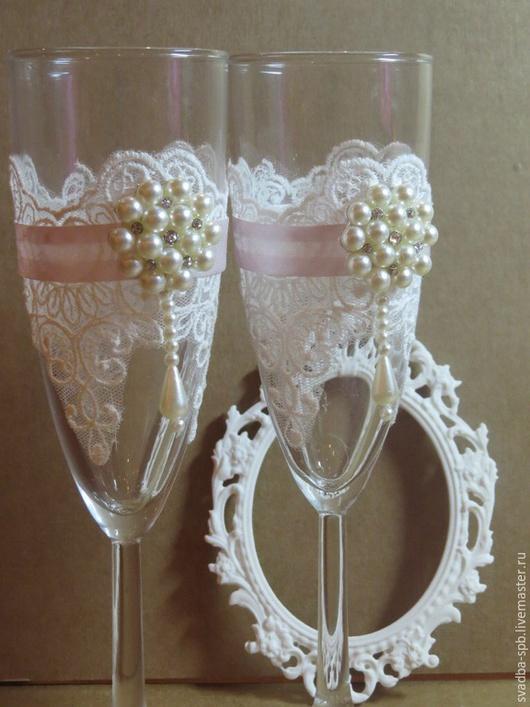 Свадебные аксессуары ручной работы. Ярмарка Мастеров - ручная работа. Купить Свадебные бокалы. Handmade. Бледно-розовый, бокалы для свадьбы