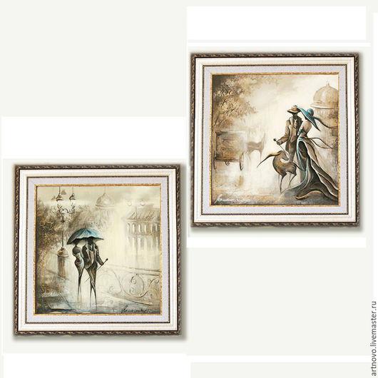 Картины цветов ручной работы. Ярмарка Мастеров - ручная работа. Купить Диптих картины маслом  Картина в подарок Купить картины. Handmade.