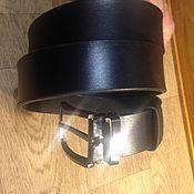 Ремни ручной работы. Ярмарка Мастеров - ручная работа Ремень кожаный мужской чёрный. Handmade.