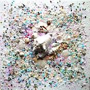 Картины и панно handmade. Livemaster - original item Painting of semi-precious stones with a large shell Moon Sea. Handmade.