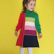 """Работы для детей, ручной работы. Ярмарка Мастеров - ручная работа """"Игра с цветом"""". Теплое трикотажное платье. Handmade."""