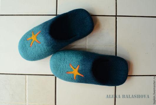 """Обувь ручной работы. Ярмарка Мастеров - ручная работа. Купить Войлочные тапочки """"Морская звезда"""". Handmade. Морская волна"""