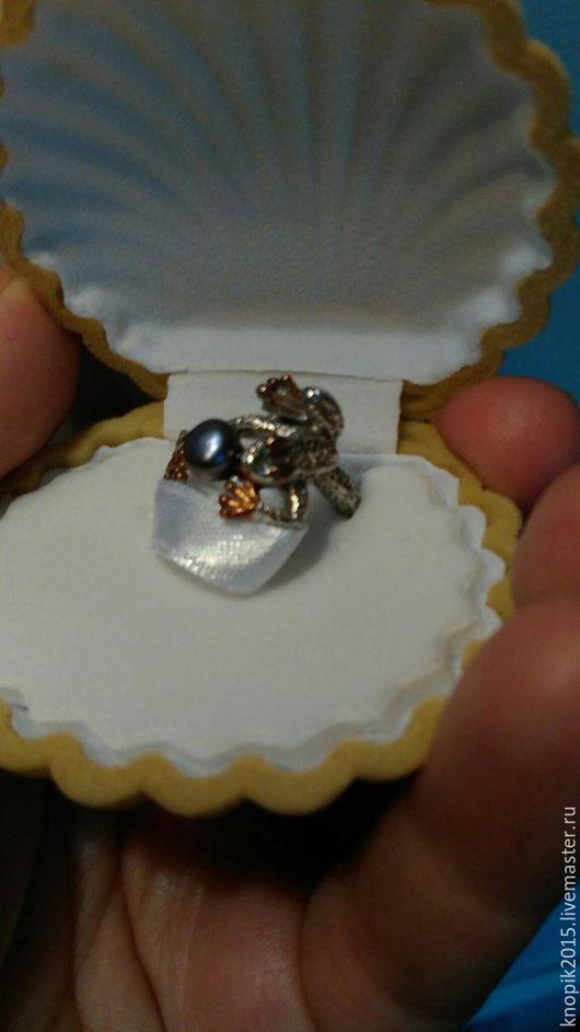 Кольца ручной работы. Ярмарка Мастеров - ручная работа. Купить кольцо из серебра  с  натуральным жемчугом- царевна лягушка. Handmade. Комбинированный