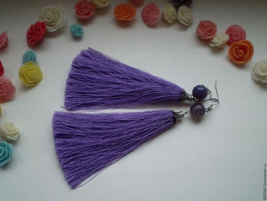 Серьги с фиолетовыми  кисточками и агатами