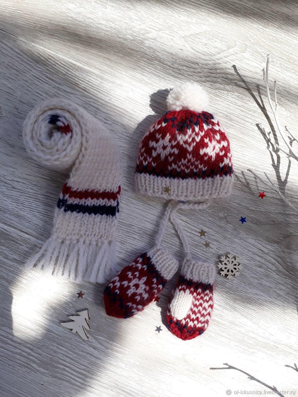 Одежда для кукол шапочка варежки шарфик с орнаментом, Одежда для кукол, Пермь,  Фото №1