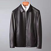 Мужская одежда handmade. Livemaster - original item Men`s outerwear: calf leather jacket, black color.. Handmade.