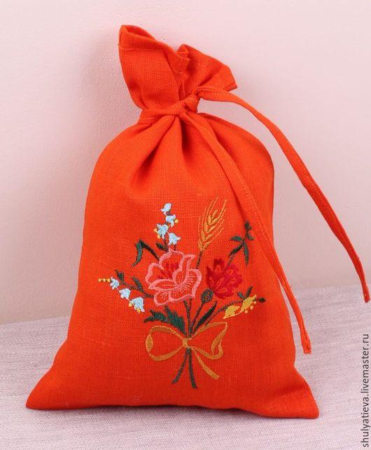 """Кухня ручной работы. Ярмарка Мастеров - ручная работа. Купить Льняной мешочек """"Полевой букетик"""". Handmade. Рыжий, купить мешочки"""