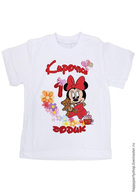 """Одежда для девочек, ручной работы. Ярмарка Мастеров - ручная работа. Купить Детская футболка с принтом """"На 1 годик"""" Мини маус. Handmade."""