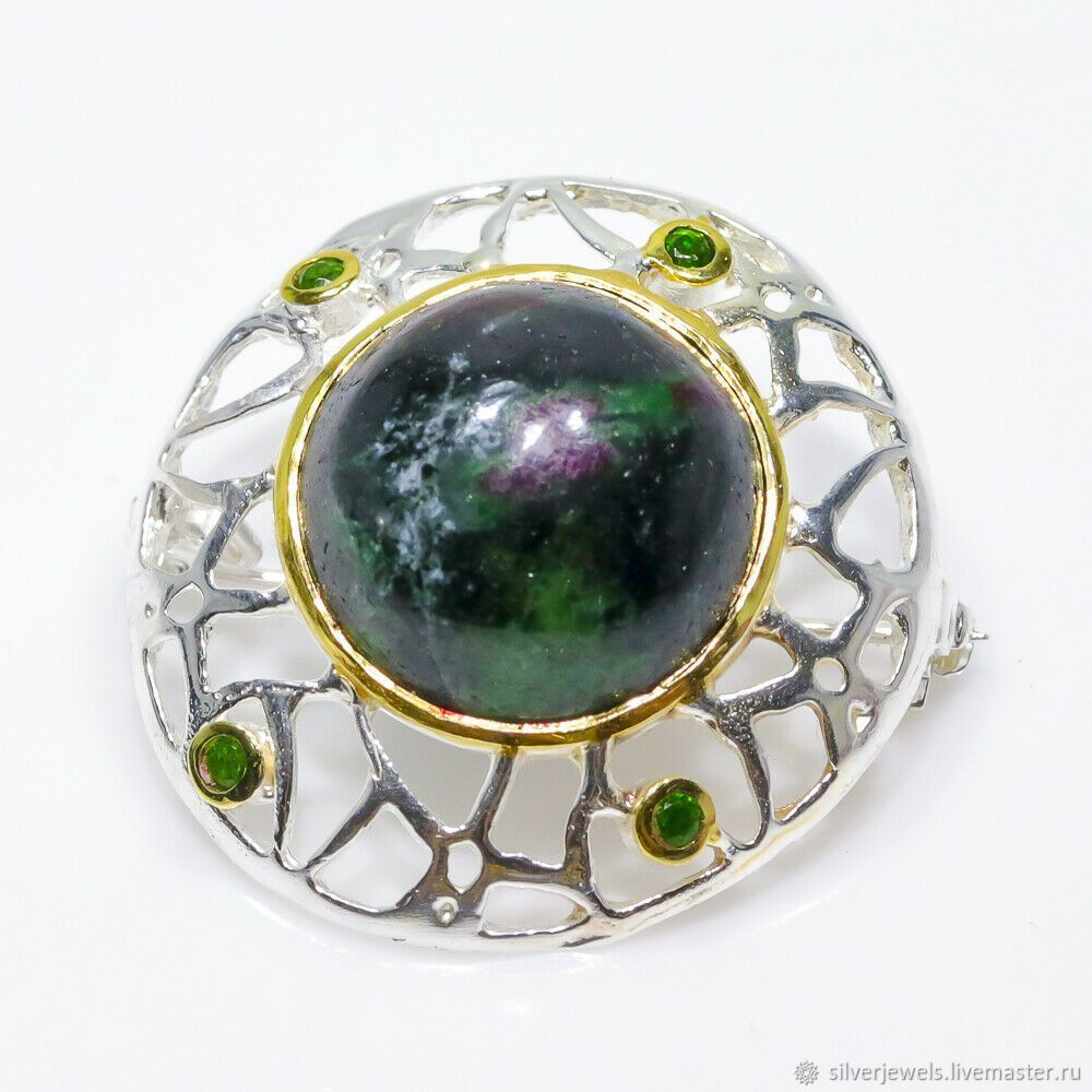 Brooch with zoisite and chromediopsides, rhodium, 2 tones, Brooches, Moscow,  Фото №1