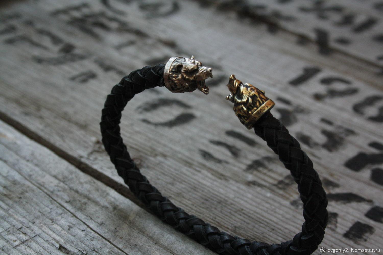 Bracelet made of genuine leather Bear, Bead bracelet, Volgograd,  Фото №1