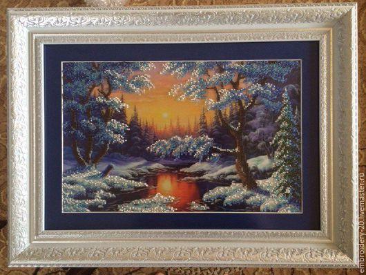 Пейзаж ручной работы. Ярмарка Мастеров - ручная работа. Купить Зимний лес. Handmade. Комбинированный, зима, пейзаж, красота