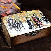 """Для дома и интерьера ручной работы. Ярмарка Мастеров - ручная работа Шкатулка """"Зимний вечер"""", шкатулка для украшений. Handmade."""