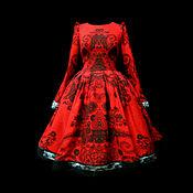 """Одежда ручной работы. Ярмарка Мастеров - ручная работа Платье """"Соблазн"""" красное с черным кружевом. Handmade."""