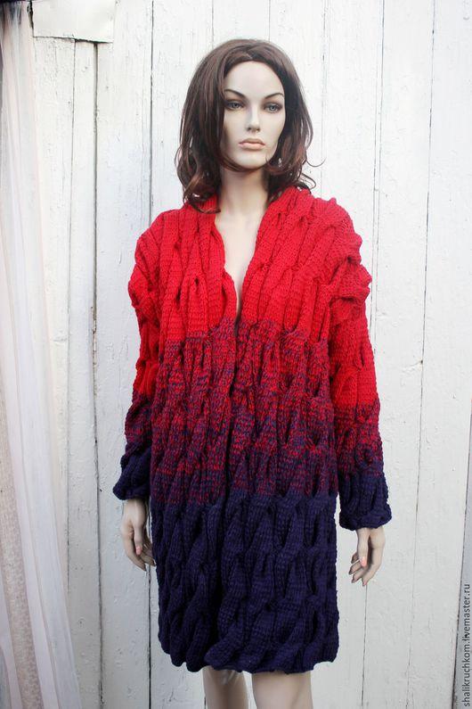 Кофты и свитера ручной работы. Вязаный кардиган в стиле шарпей косы ручной работы. Кардиганы FDesign, шали. Ярмарка Мастеров.