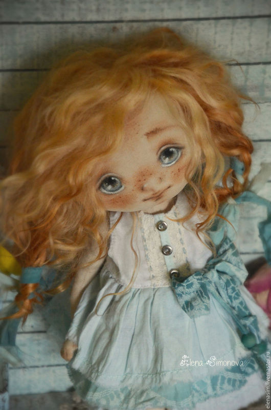 Коллекционные куклы ручной работы. Ярмарка Мастеров - ручная работа. Купить малышка Мэгги в нежно-голубом. Handmade. Голубой, выкройка