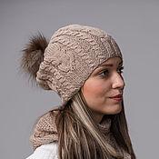 Аксессуары handmade. Livemaster - original item Set cap with pompom and scarf Snood in beige. Handmade.
