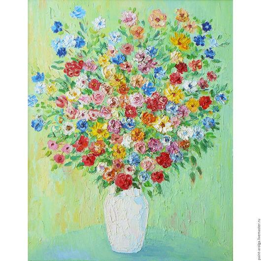 Натюрморт ручной работы. Ярмарка Мастеров - ручная работа. Купить Картина натюрморт цветы в вазе. Handmade. Мятный, картина для интерьера
