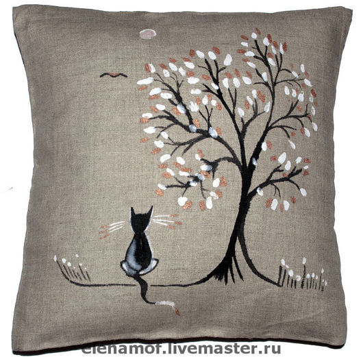 Текстиль, ковры ручной работы. Ярмарка Мастеров - ручная работа. Купить Подушка Кот под деревом. Handmade. Подушка льняная