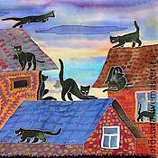 Аксессуары ручной работы. Ярмарка Мастеров - ручная работа Коты на крышах. Handmade.
