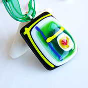 Украшения handmade. Livemaster - original item Green Necklace Handmade, Glass Pendant Necklace, Fused glass Jewelry. Handmade.