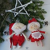 Tilda Dolls handmade. Livemaster - original item Mr & Mrs Claus Petite dolls. Handmade.