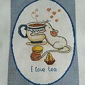 """Картины ручной работы. Ярмарка Мастеров - ручная работа Вышивка """"Я люблю чай"""". Handmade."""