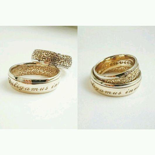 Кольца ручной работы. Ярмарка Мастеров - ручная работа. Купить Обручальные кольца с розами. Handmade. Обручальные кольца, золото, розы