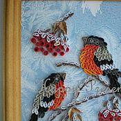 Картины и панно ручной работы. Ярмарка Мастеров - ручная работа Снегири на ветвях рябины.... Handmade.
