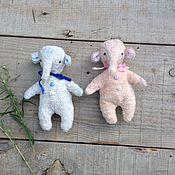 Куклы и игрушки ручной работы. Ярмарка Мастеров - ручная работа Слоники-зефирки (карманные). Handmade.