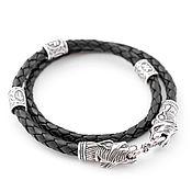 Украшения ручной работы. Ярмарка Мастеров - ручная работа Кожаный браслет серебро Рыси с рунами, серебряный браслет. Handmade.