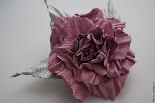 """Броши ручной работы. Ярмарка Мастеров - ручная работа. Купить Брошь из натуральной кожи """"Роза"""". Handmade. Розовый, Итальянская кожа"""