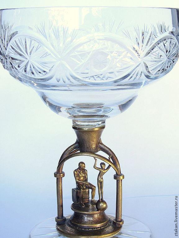 """""""ПИКАССО"""". Хрустальный вазон на бронзовой вставке"""
