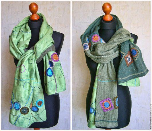 Теплый, зимний шарф зеленых оттенков, для тех, кто любит мятную свежесть и теплый уют. Шарф двухсторонний, комбинированный, одна сторона тканевая, другая связана спицами.